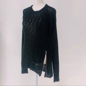 Say What? Long Sleeve Black Loose Knit Sweater Lg